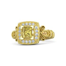Princess Yellow Sapphire 14K Yellow Gold Ring with Diamond & Citrine
