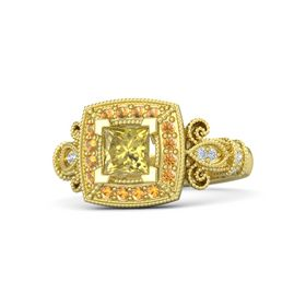 Princess Yellow Sapphire 14K Yellow Gold Ring with Citrine & Diamond