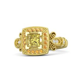 Princess Yellow Sapphire 14K Yellow Gold Ring with Citrine & White Sapphire
