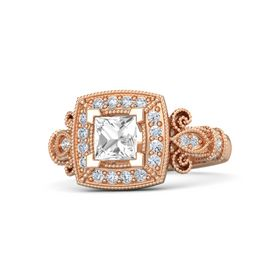 Princess Rock Crystal 18K Rose Gold Ring with Diamond