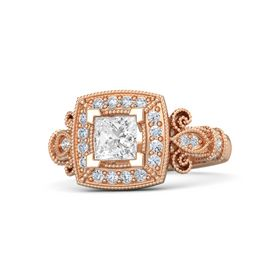 Princess White Sapphire 18K Rose Gold Ring with Diamond