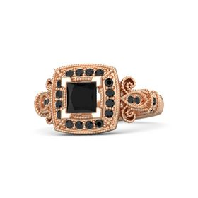 Princess Black Onyx 18K Rose Gold Ring with Black Diamond