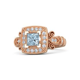 Princess Aquamarine 18K Rose Gold Ring with Diamond