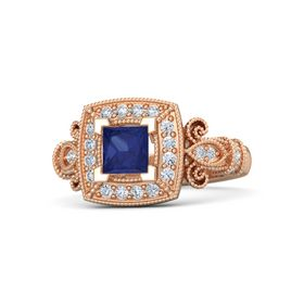 Princess Sapphire 18K Rose Gold Ring with Diamond
