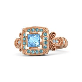 Princess Blue Topaz 18K Rose Gold Ring with London Blue Topaz and Aquamarine