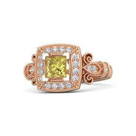 Princess Yellow Sapphire 18K Rose Gold Ring with Diamond