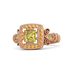 Princess Yellow Sapphire 18K Rose Gold Ring with Citrine & Yellow Sapphire
