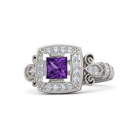 Princess Amethyst 18K White Gold Ring with Diamond