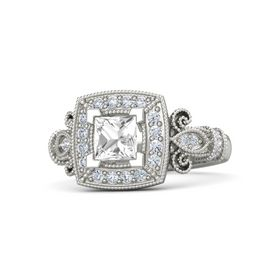 Princess Rock Crystal 18K White Gold Ring with Diamond