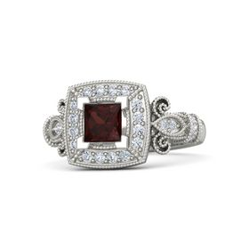 Princess Red Garnet 18K White Gold Ring with Diamond