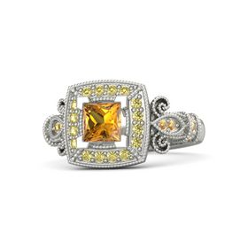Princess Citrine 18K White Gold Ring with Yellow Sapphire and Citrine