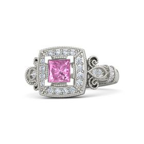 Princess Pink Sapphire 18K White Gold Ring with Diamond
