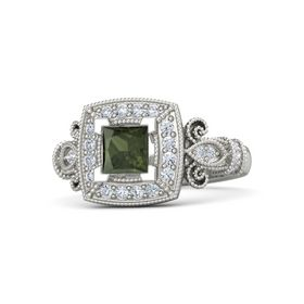 Princess Green Tourmaline 18K White Gold Ring with Diamond