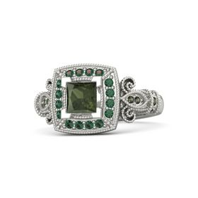 Princess Green Tourmaline 18K White Gold Ring with Alexandrite and Green Tourmaline