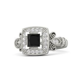Princess Black Onyx 18K White Gold Ring with White Sapphire