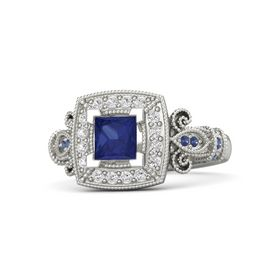 Princess Blue Sapphire 18K White Gold Ring with White Sapphire and Blue Sapphire