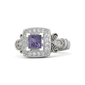 Princess Iolite 18K White Gold Ring with Diamond