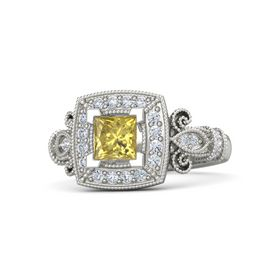 Princess Yellow Sapphire 18K White Gold Ring with Diamond