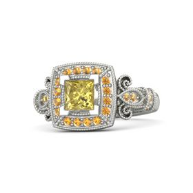 Princess Yellow Sapphire 18K White Gold Ring with Citrine