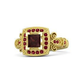 Princess Red Garnet 18K Yellow Gold Ring with Ruby