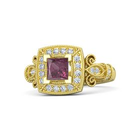 Princess Rhodolite Garnet 18K Yellow Gold Ring with Diamond