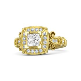 Princess White Sapphire 18K Yellow Gold Ring with Diamond