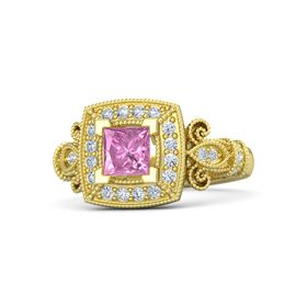 Princess Pink Sapphire 18K Yellow Gold Ring with Diamond