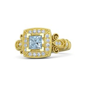 Princess Aquamarine 18K Yellow Gold Ring with Diamond