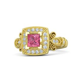 Princess Pink Tourmaline 18K Yellow Gold Ring with Diamond