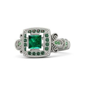 Princess Emerald Palladium Ring with Alexandrite and Emerald