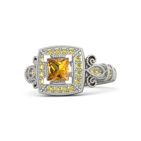 Princess Citrine Palladium Ring with Yellow Sapphire