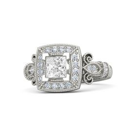 Princess White Sapphire Palladium Ring with Diamond
