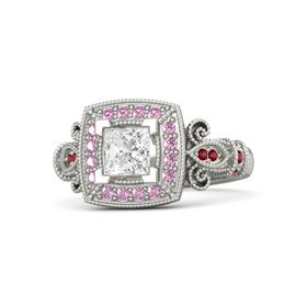 Princess White Sapphire Palladium Ring with Pink Sapphire & Ruby