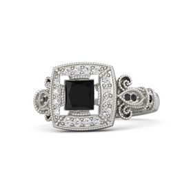 Princess Black Onyx Palladium Ring with White Sapphire and Black Diamond