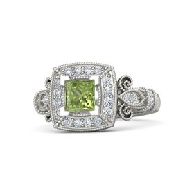 Princess Peridot Palladium Ring with Diamond