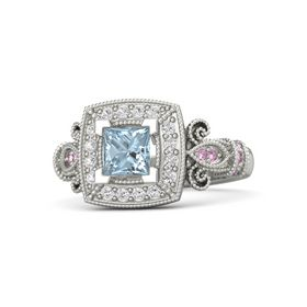 Princess Aquamarine Palladium Ring with White Sapphire & Pink Sapphire