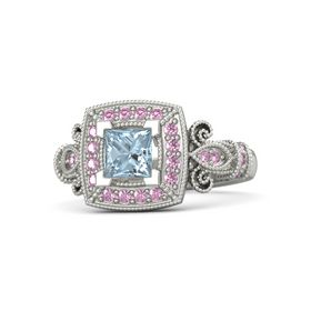 Princess Aquamarine Palladium Ring with Pink Sapphire