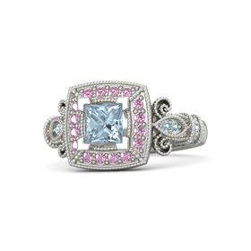 Princess Aquamarine Palladium Ring with Pink Sapphire and Aquamarine