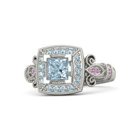 Princess Aquamarine Palladium Ring with Aquamarine and Pink Tourmaline