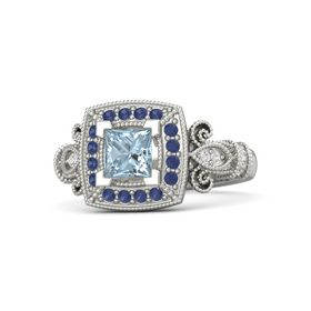 Princess Aquamarine Palladium Ring with Blue Sapphire and White Sapphire