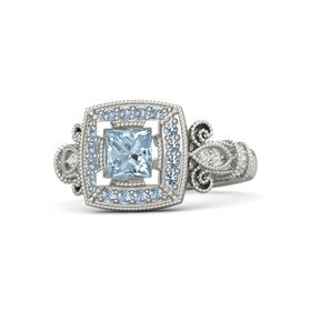 Princess Aquamarine Palladium Ring with Blue Topaz and White Sapphire