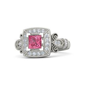 Princess Pink Tourmaline Palladium Ring with Diamond
