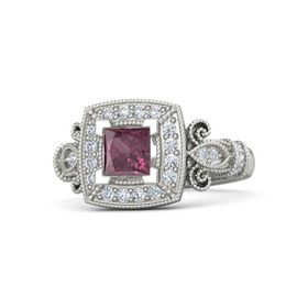 Princess Rhodolite Garnet Platinum Ring with Diamond