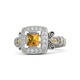 Princess Citrine Platinum Ring with Diamond and Citrine