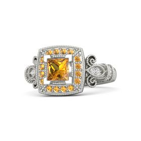 Princess Citrine Platinum Ring with Citrine & White Sapphire