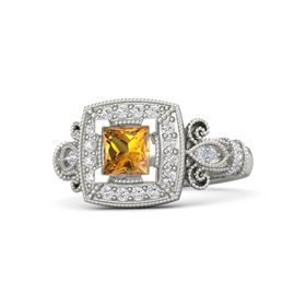 Princess Citrine Platinum Ring with White Sapphire & Diamond