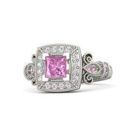 Princess Pink Sapphire Platinum Ring with White Sapphire & Pink Sapphire