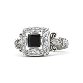 Princess Black Onyx Platinum Ring with Diamond