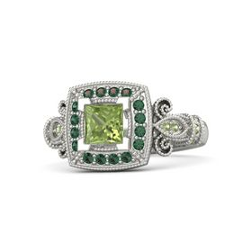 Princess Peridot Platinum Ring with Alexandrite & Peridot