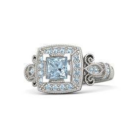 Princess Aquamarine Platinum Ring with Aquamarine